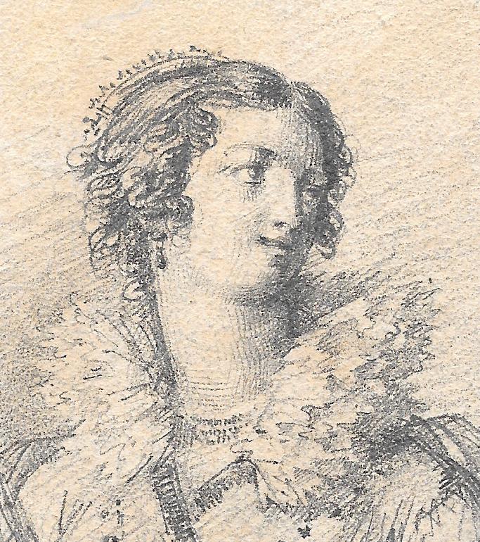 """ISABEY Jean-Baptiste, Attribué à """"Portrait de femme"""" Dessin, crayon noir, annoté-photo-2"""