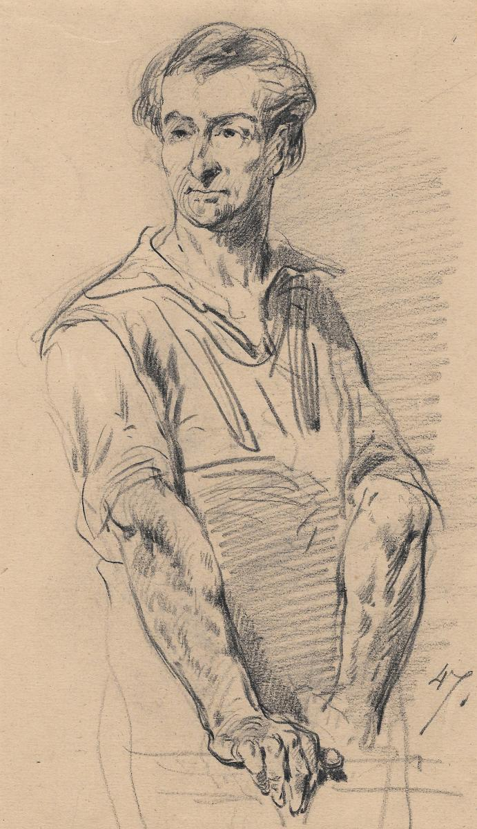 """Andrieux Clement-auguste """"portrait Of A Man"""" Black Pencil Drawing"""