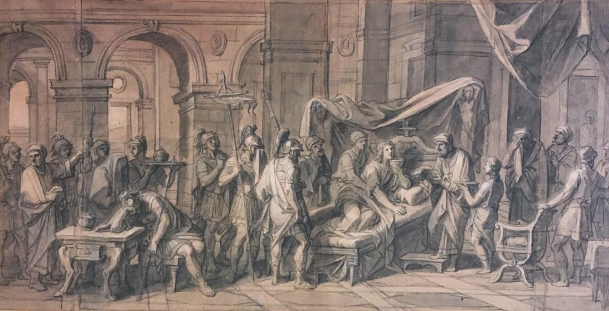 """VERDIER François """"Episode de la vie d'Alexandre"""" Dessin à la pierre noire"""