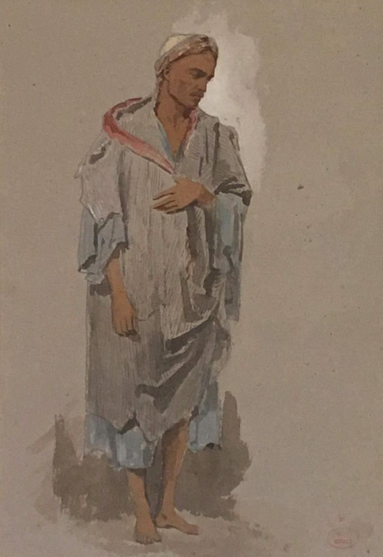 """Giraud Eugene """"an Oriental"""" Watercolor, Stamp Of Sale"""