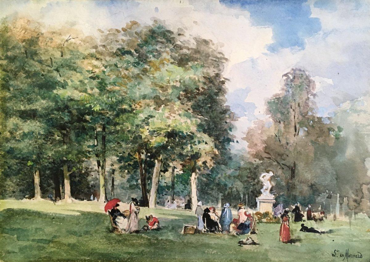 """MORNARD Louise Valentine de, """"Scène de parc"""" Dessin, Crayon noir et aquarelle, signé"""