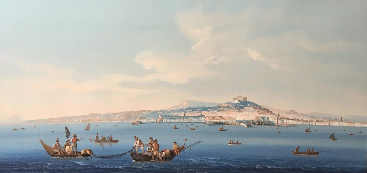 """ECOLE ITALIENNE VERS 1840 """"Vue de Naples"""" Gouache, Cadre 19e"""