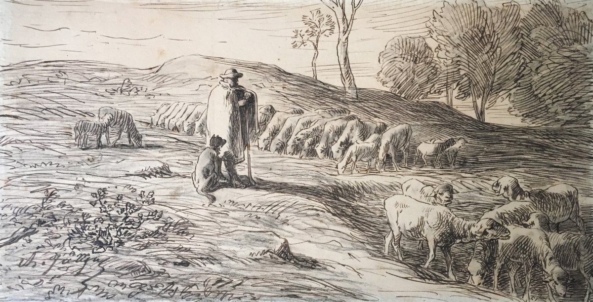 "Jacque Charles ""shepherd And Sheep"" Drawing In Black Pencil And Pen, Signed"