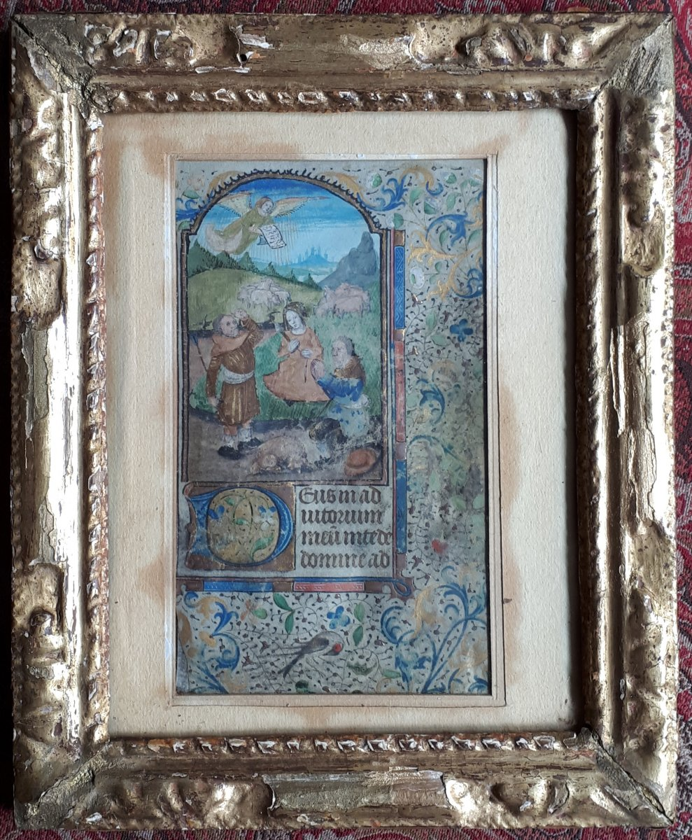 """ECOLE FRANCAISE VERS 1480 """"Scène religieuse"""" No 2 Enluminure"""