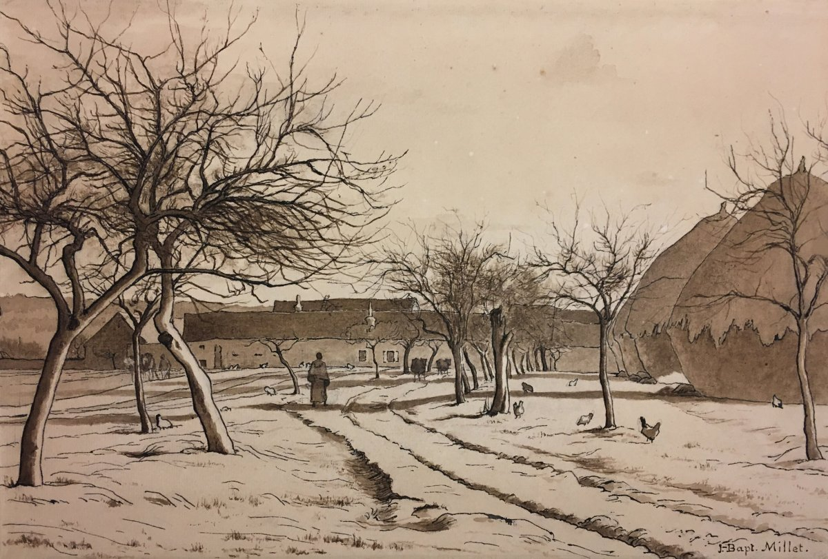"""Millet Jean-baptiste """"landscape With A Farm"""" Drawing Pen And Brown Wash, Signed"""