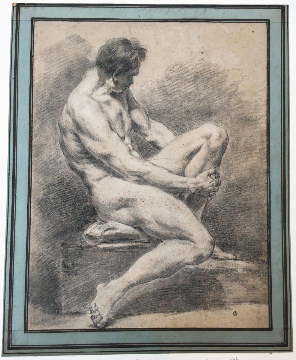 """ECOLE  FRANÇAISE 18E """"Académie d'homme"""" Dessin à la pierre noire, Cachet de Collection"""