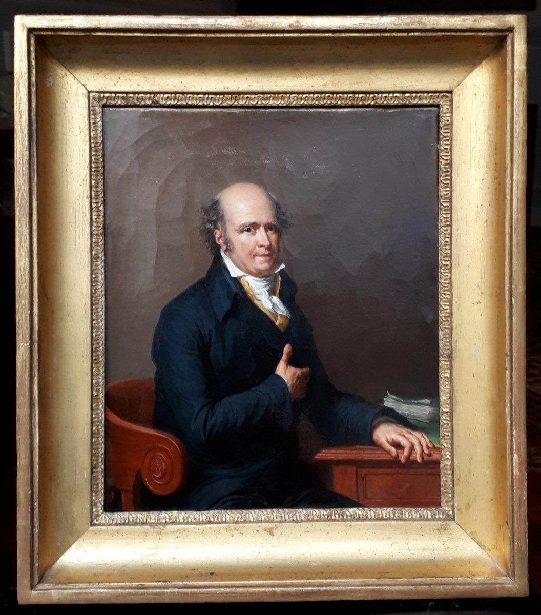 """Ecole française 19e """"Portrait du Baron Antoine DUBOIS"""" Huile sur toile, Cadre 19e"""