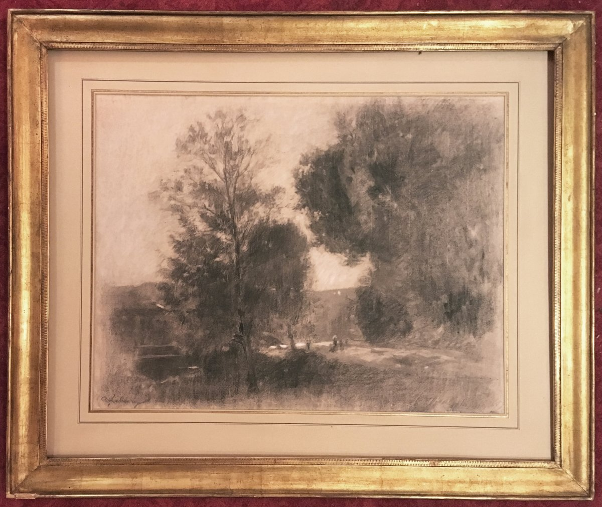 "Lebourg Albert, School Of Rouen ""landscape"" Drawing In Black Pencil And White Chalk, Signed"