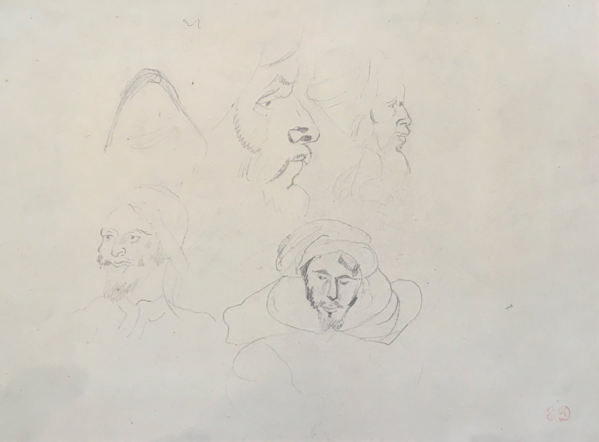 "Delacroix Eugène ""heads Of Arabs"" Black Pencil Drawing, Stamp Of Sale"