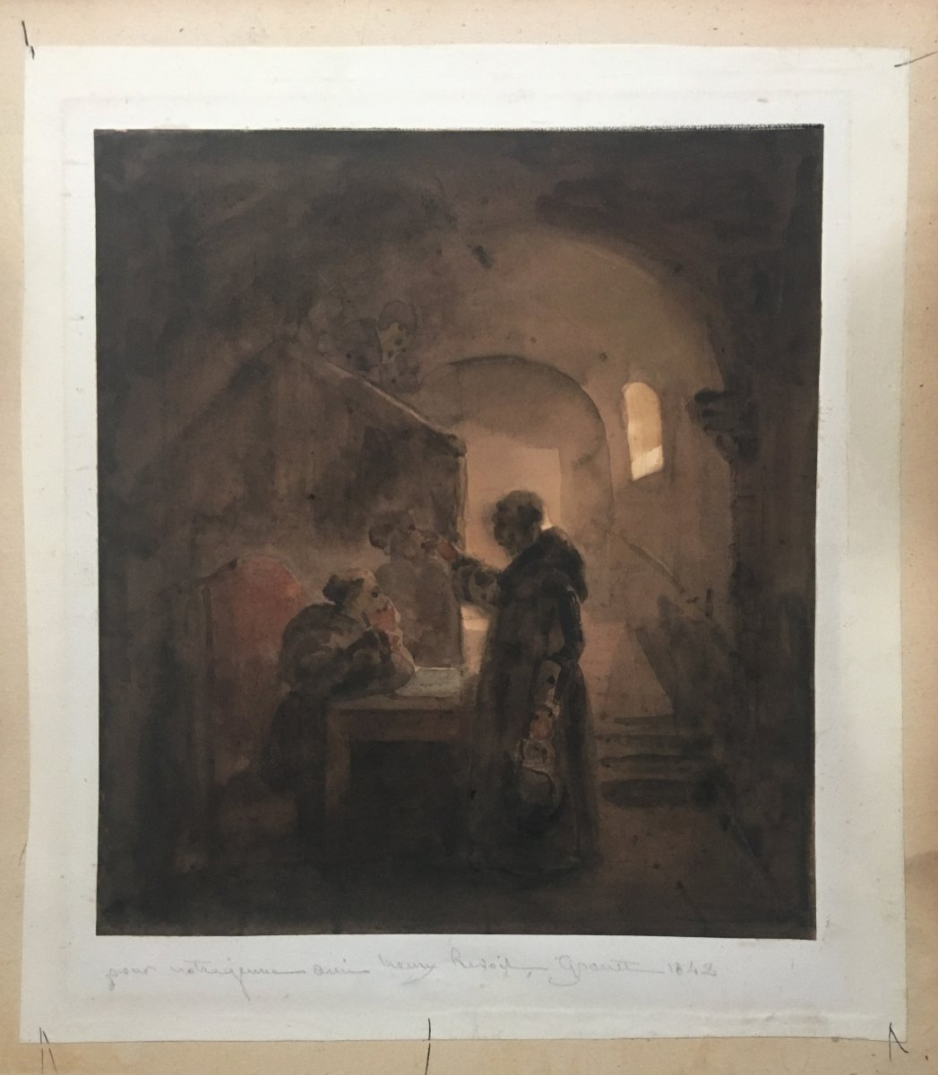 """Granet François Marius """"religious In A Convent"""" Watercolor, Signed-photo-2"""