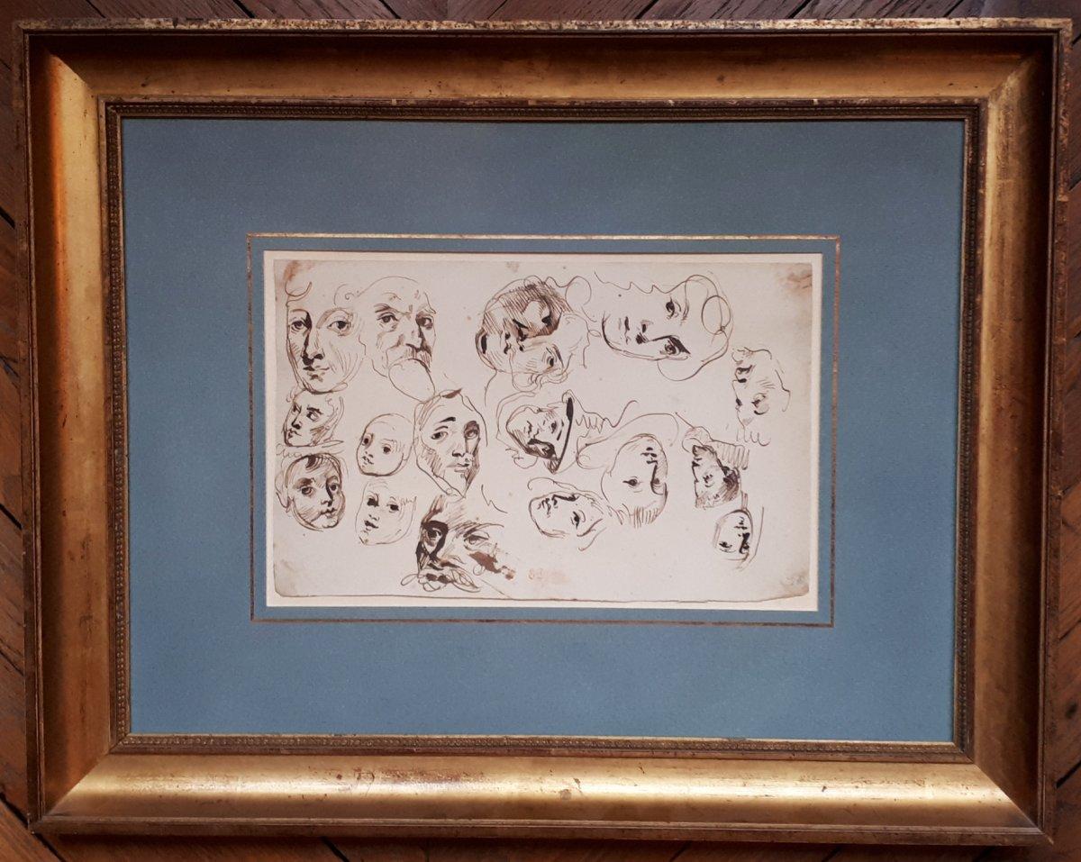 """Delacroix Eugène (1798-1863) """"etude De Têtes"""" Dessin/plume Et Lavis Brun, Cachet, Cadre"""