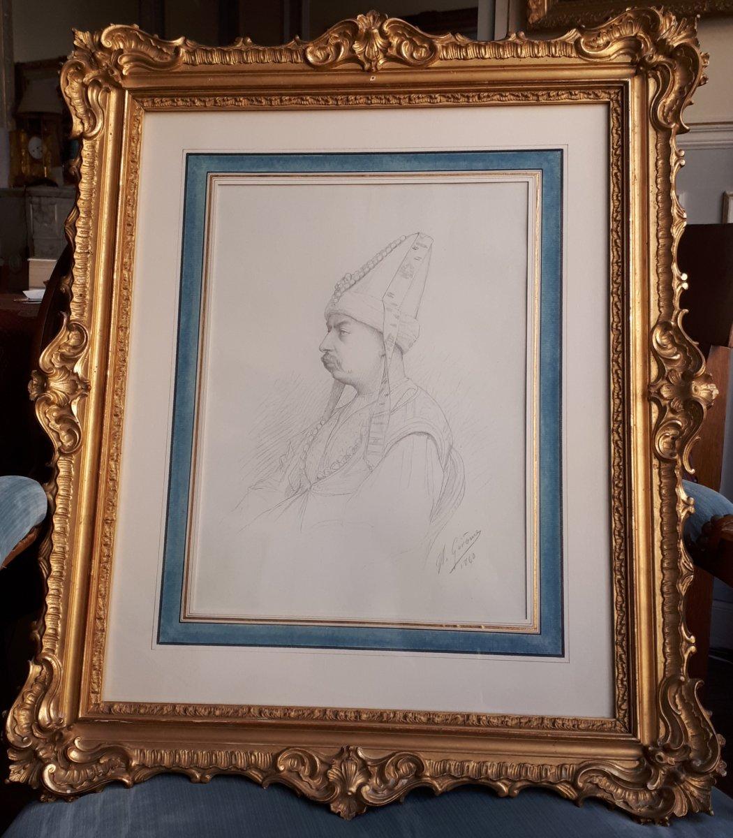"""GEROME Jean-Léon (1824-1904) """"Portrait du peintre Louis-Eugène LAMBERT""""Dessin/Crayon noir,signé"""