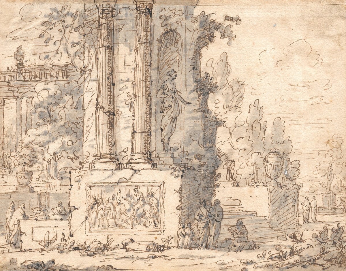 """Italian School Early 18th Century """"animated Landscape"""" Drawing / Pen And Gray Wash"""