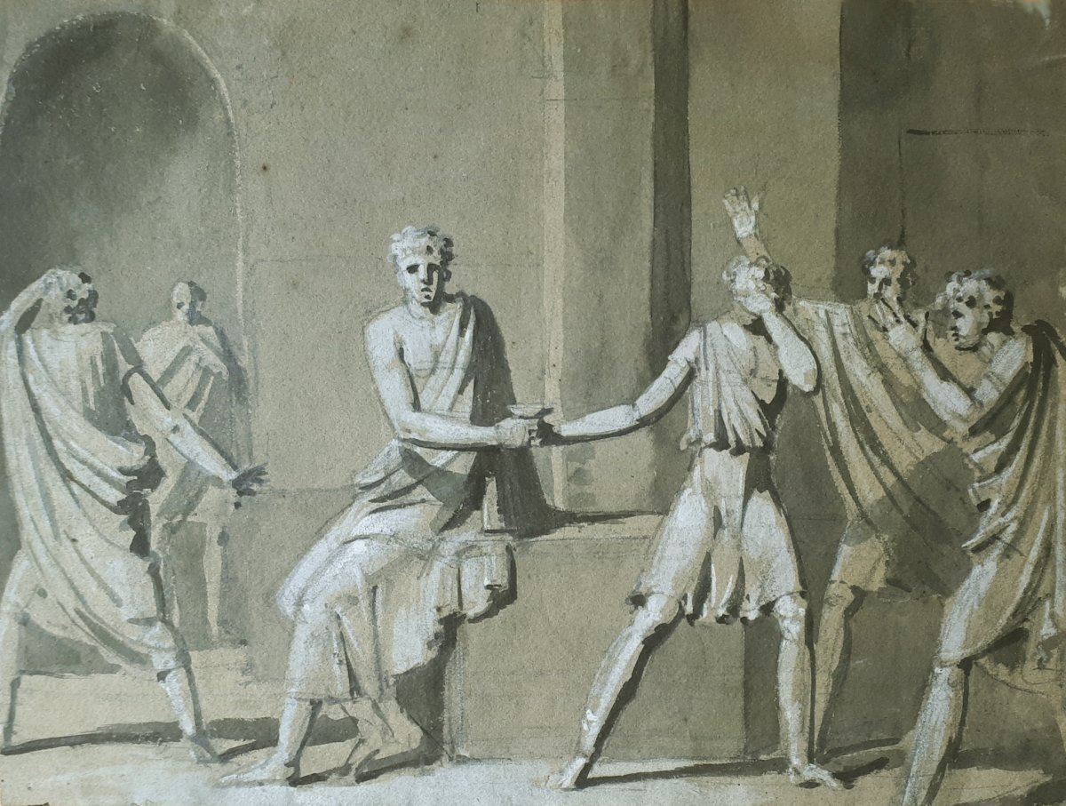 """French School Late 18th """"mythological Scene"""" Drawing With Gray Wash And White Gouache"""