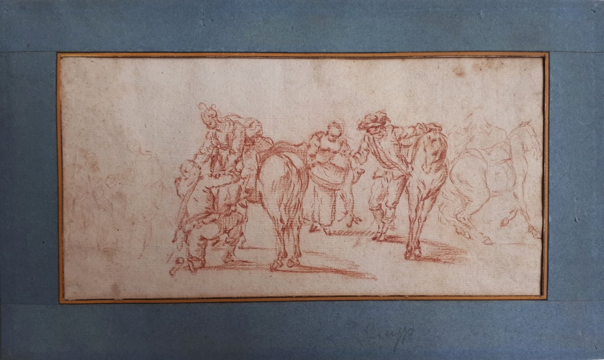 "Flemish School Late 17th ""characters And Horses"" Drawing In Red Chalk"