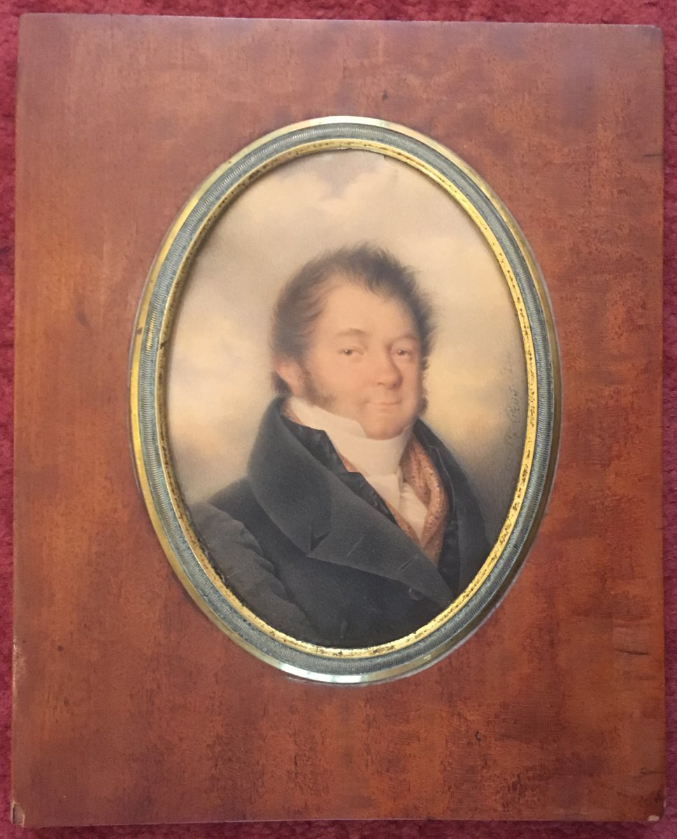 """French School, 1834 """"portrait Of A Man"""" Miniature On Vellum, Gouache, Signed, 19th Frame"""
