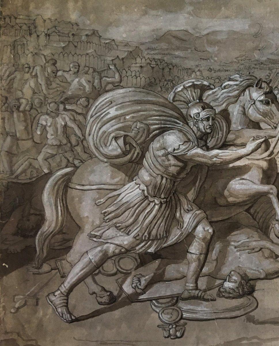 """ECOLE ITALIENNE FIN 18E """"Sujet mythologique"""" Dessin/Plume, lavis gris et gouache blanche-photo-2"""