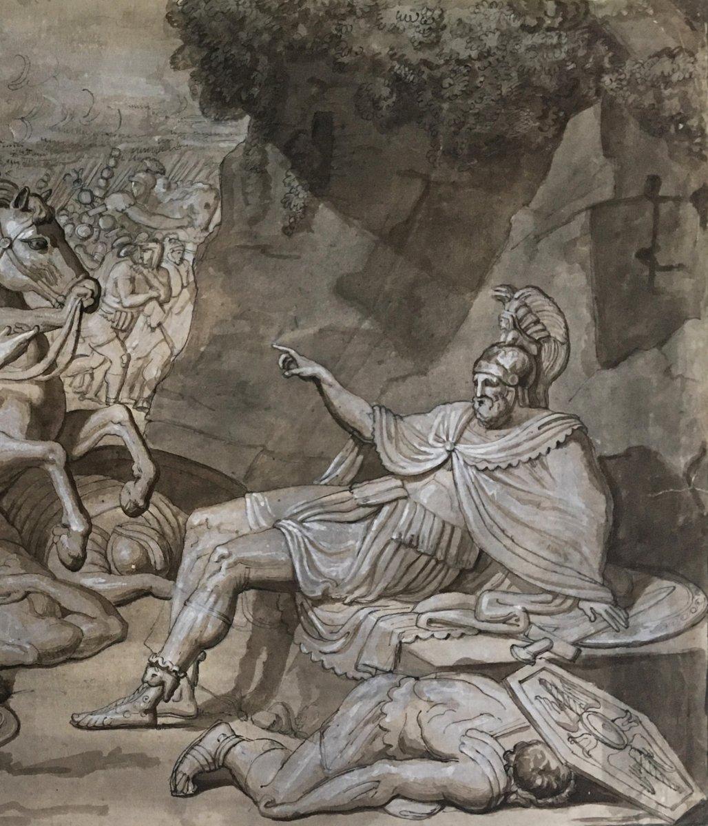 """ECOLE ITALIENNE FIN 18E """"Sujet mythologique"""" Dessin/Plume, lavis gris et gouache blanche-photo-3"""