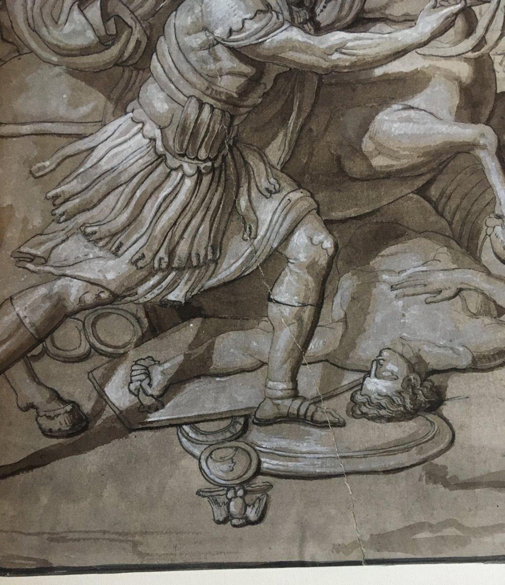 """ECOLE ITALIENNE FIN 18E """"Sujet mythologique"""" Dessin/Plume, lavis gris et gouache blanche-photo-4"""