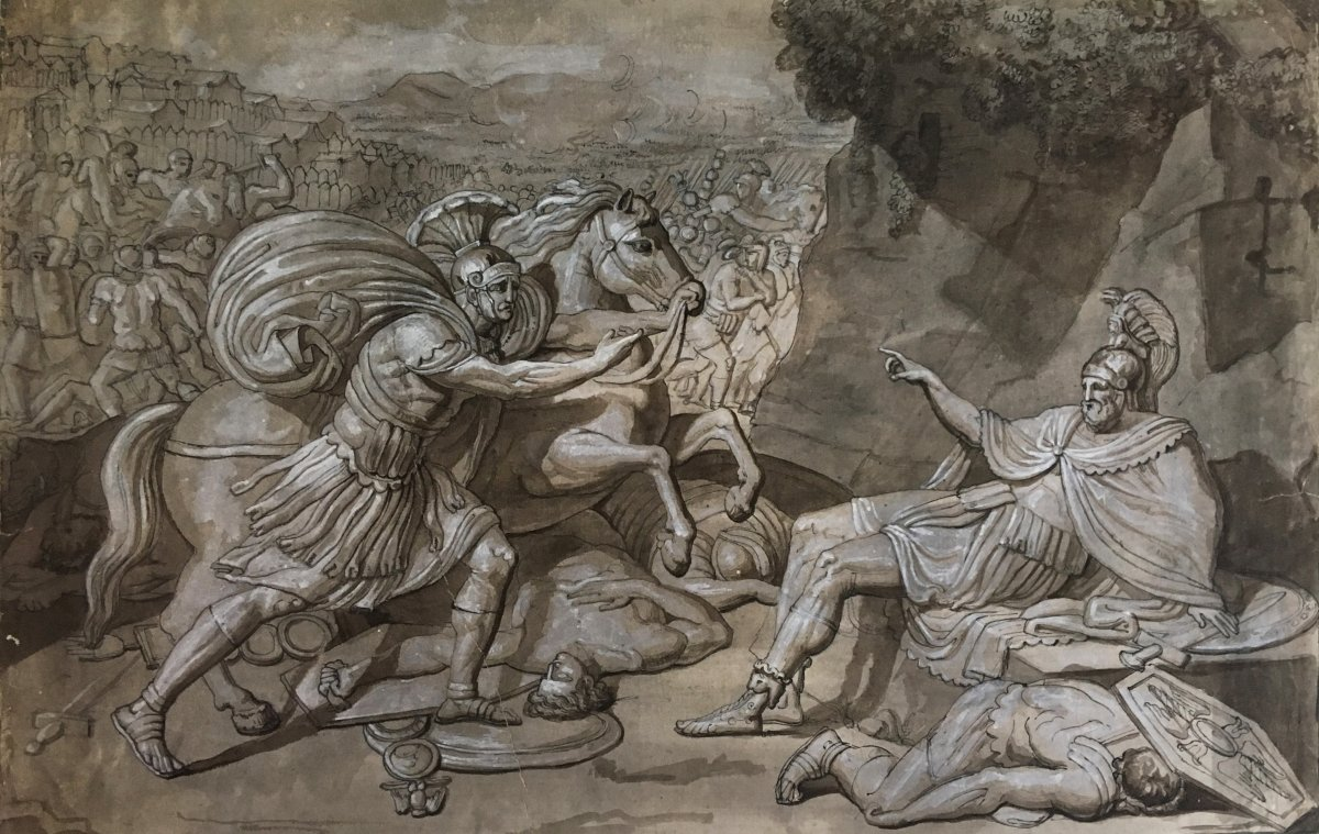 """Italian School End 18th """"mythological Subject"""" Drawing / Pen, Gray Wash And White Gouache"""
