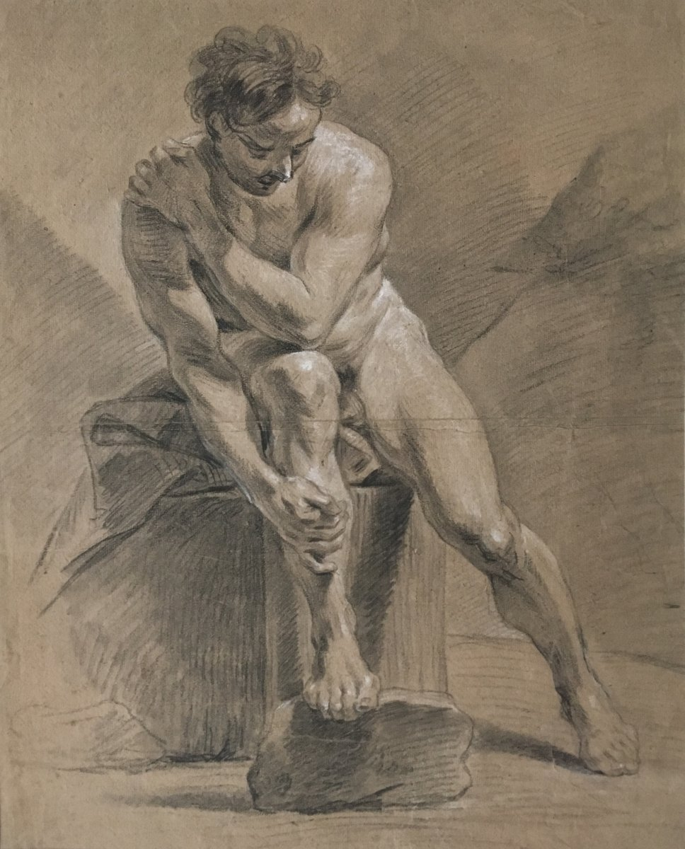 "French School 18th ""academy Of A Seated Man"" Drawing / Black Chalk And White Chalk"