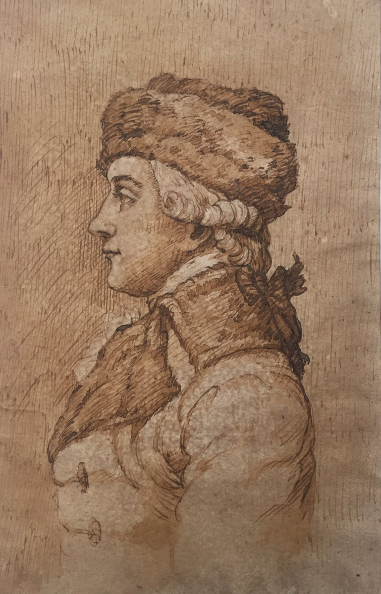 """French School 18th """"profile Of A Man"""" Drawing / Pen And Brown Wash"""
