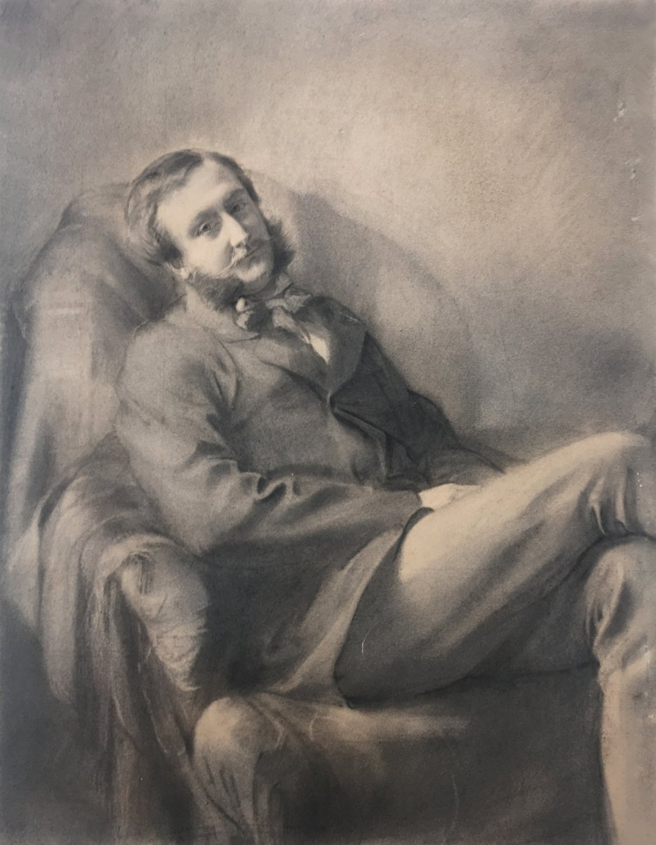 """Laurent Félix (1821-1908) """"seated Man"""" Drawing In Black Pencil, Signed"""