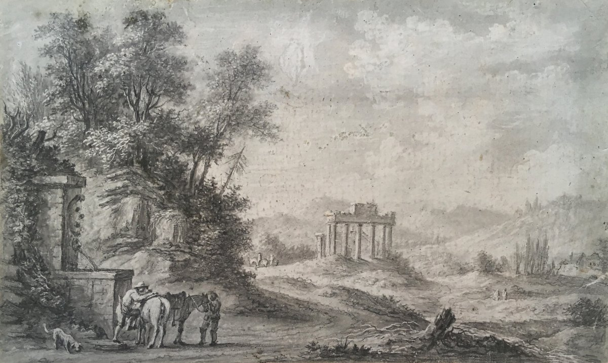 "Desfriches Thomas Aignan (1715-1800) ""landscape And Riders"" Drawing / Black Chalk And Scraping"