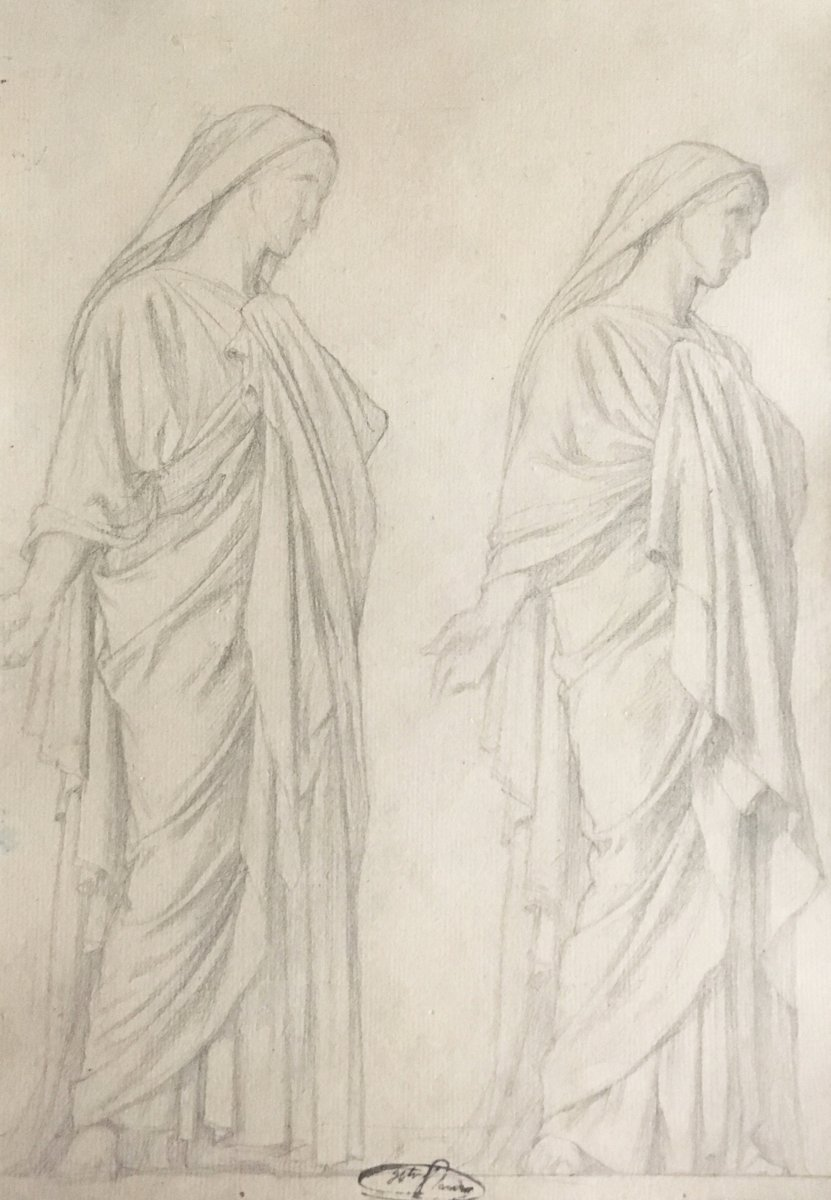 """Flandrin Hippolyte (1809-1864) Student Of Ingres """"draped Woman"""" Drawing / Black Pencil, Stamp"""