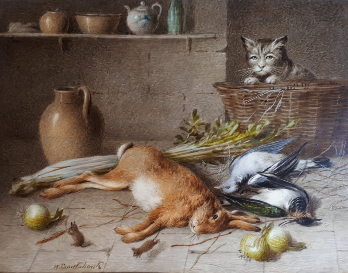 """CRUICKSHANK William (1848-1922) """"Nature morte et chat"""" Aquarelle sur papier ivoire, signée"""