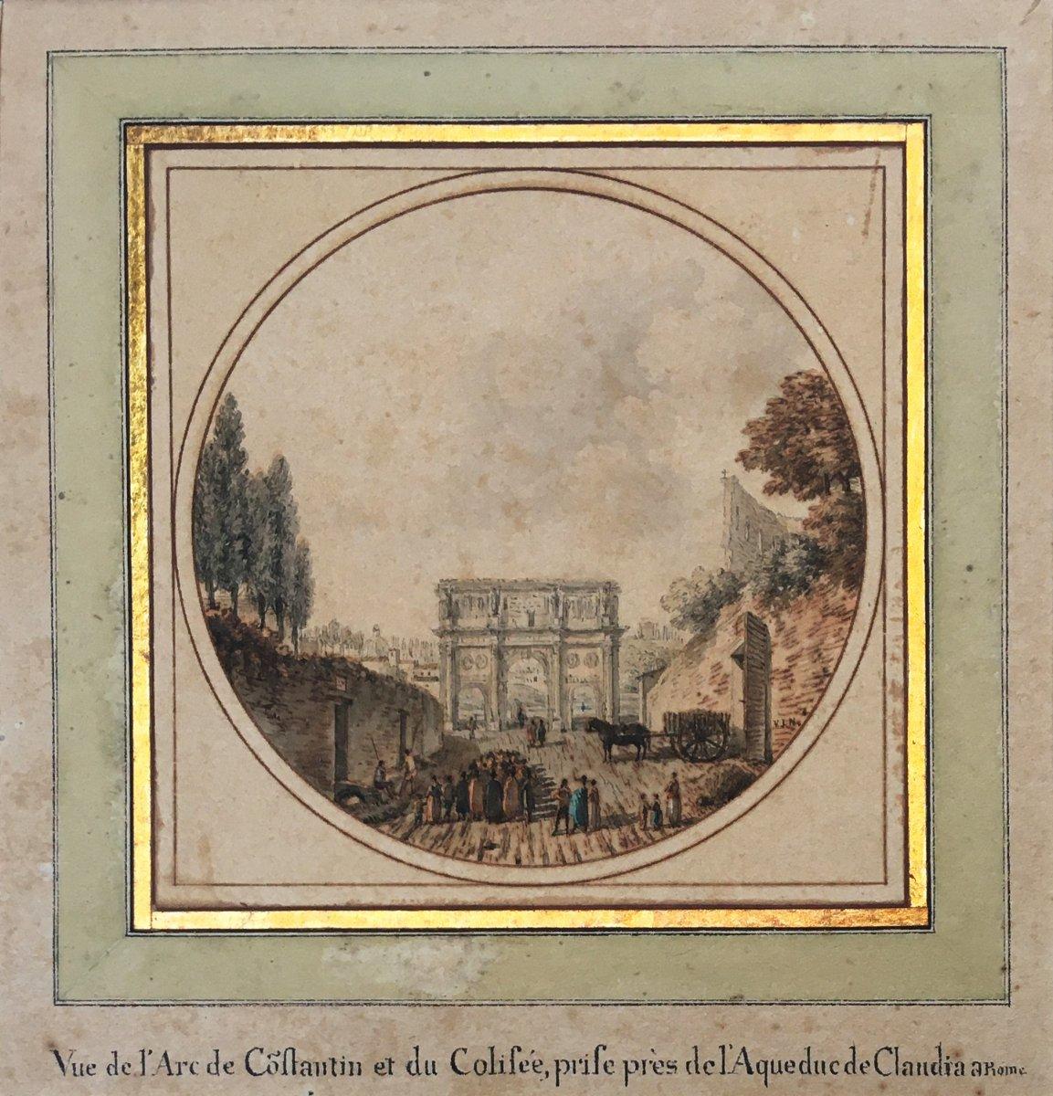 """NICOLLE Jean Victor (1754-1826) """"Vue de L'Arc de Constantin et du Colisée"""" Aquarelle"""
