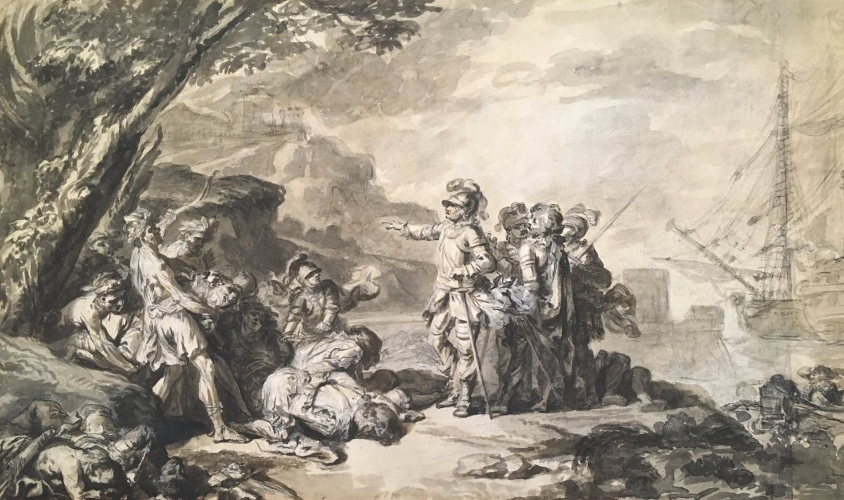 """Loutherbourg Philippe-jacques De (1740-1812) """"the Discovery Of America"""" Drawing / Pen, Wash"""