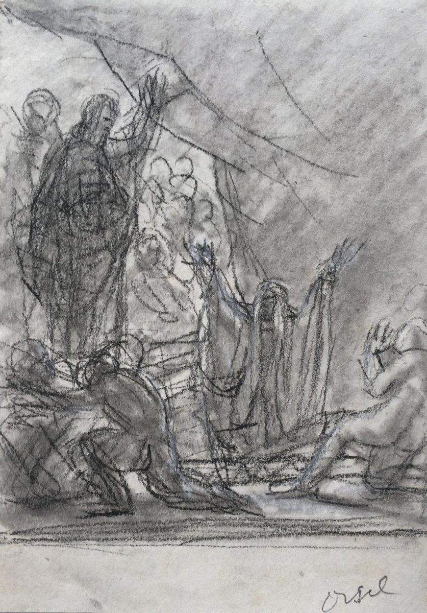 """ORSEL Victor (1795-1850) """"Personnages et évêque"""" Dessin/Crayon noir et estompe, annoté"""