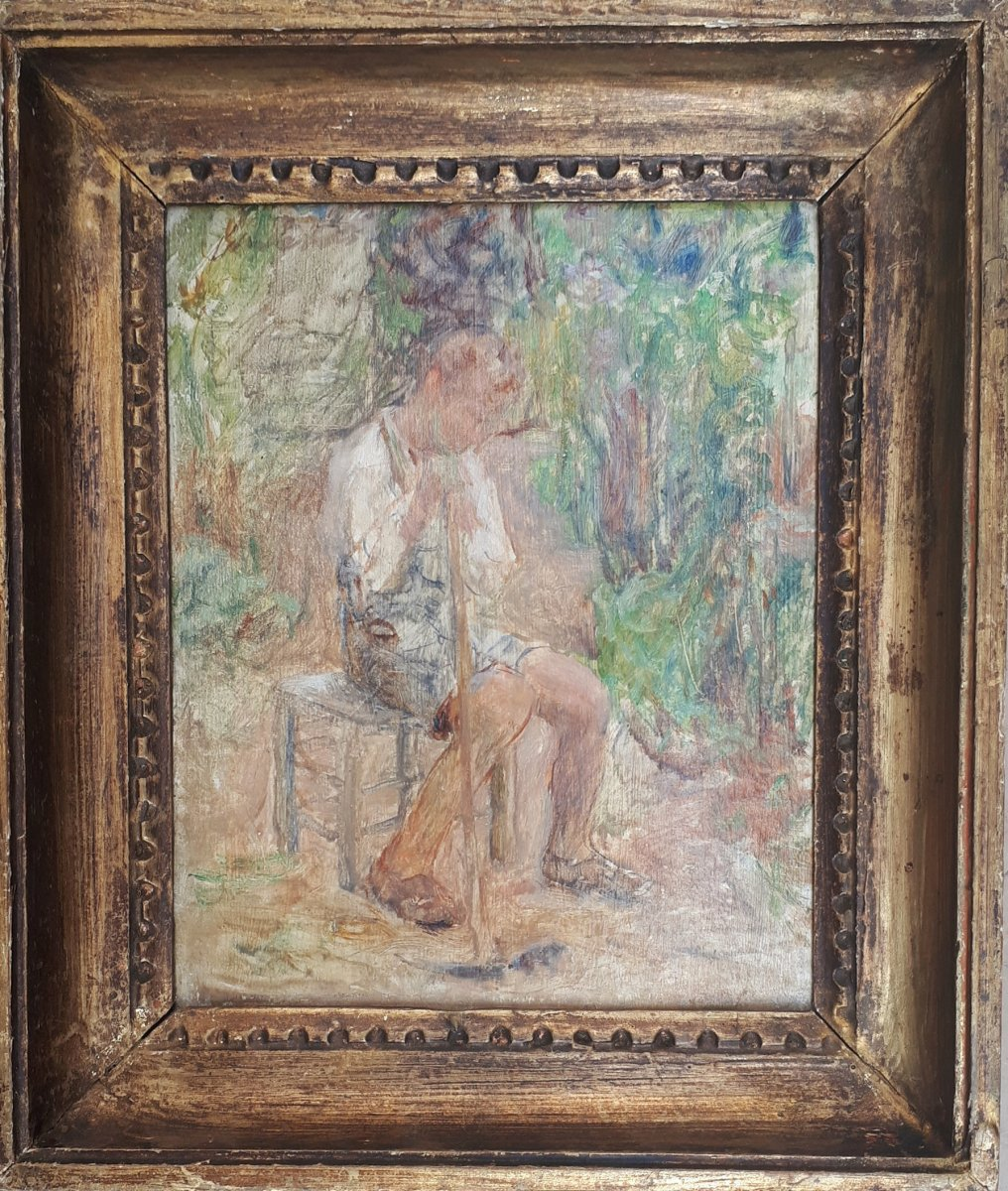 "Lamberton Joseph (1867-1943) ""young Man Seated"" Oil On Cardboard, Signed, Frame"