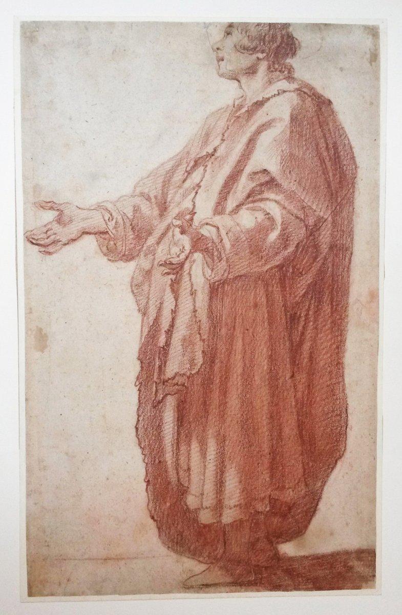 """ROSSELLI Matteo Attribué à (1578-1650) """"Homme debout drapé"""" Dessin/Crayon sanguine"""