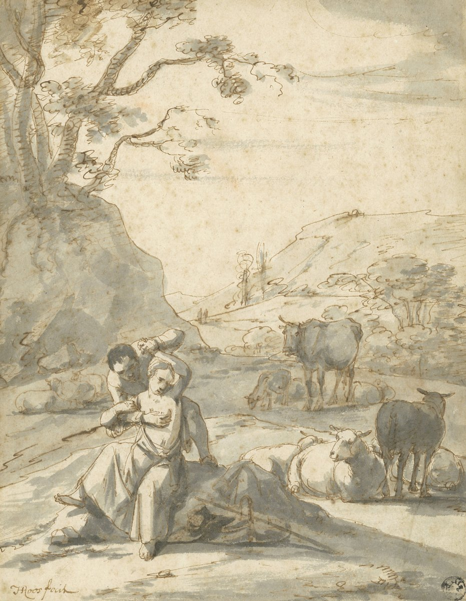 "Roos Johann Heinrich (1631-1685) ""naughty Scene"" Drawing/pen, Gray Wash, Signed, Josef Grünling"