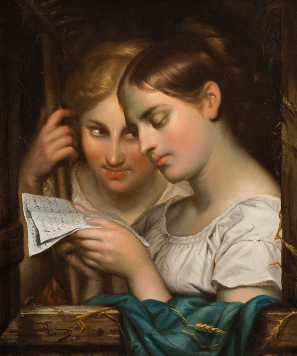 "Leonardi Achille (1800-1870) ""reading The Letter"" Oil On Canvas, Signed, Frame"