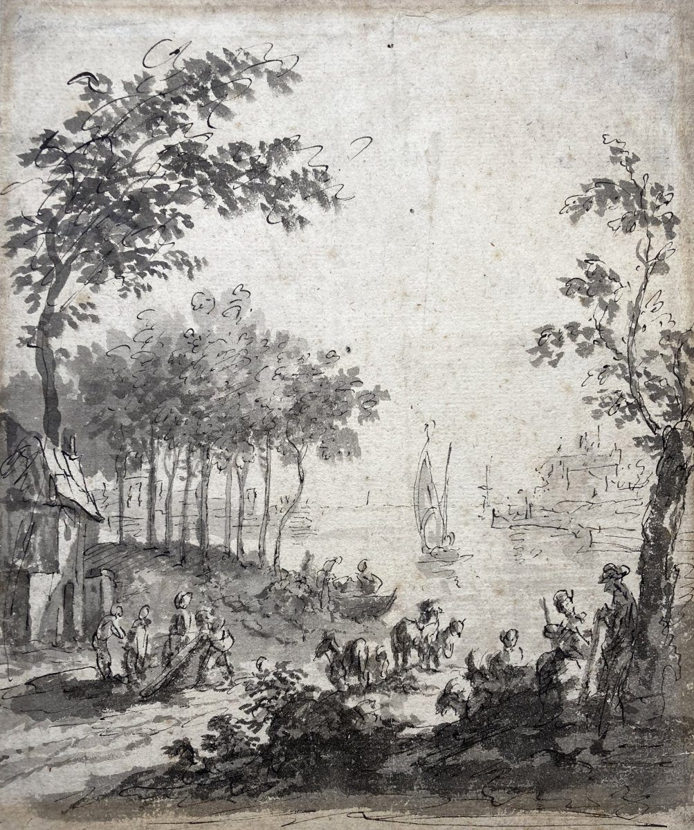 """Flemish School 18th Century """"landscape At A River"""" Drawing/pen And Gray Wash"""