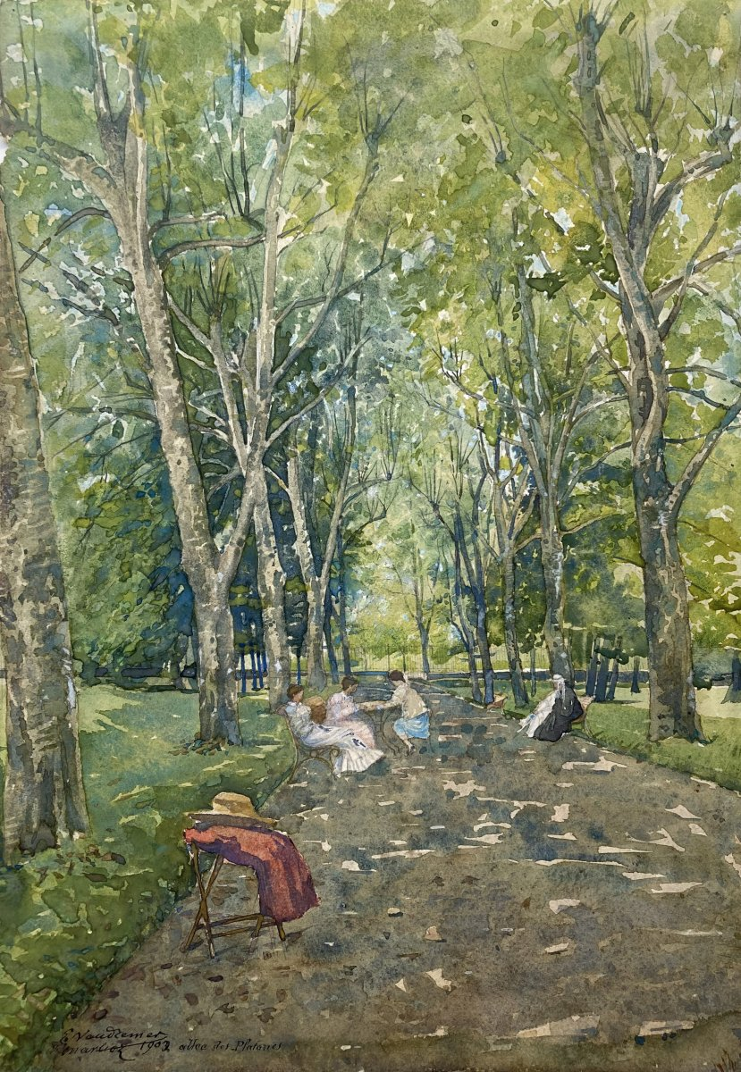 """Vaudremer Emile (1829-1914) """"marlioz, Plane Trees Alley"""" Watercolor, Signed, Dated And Located"""