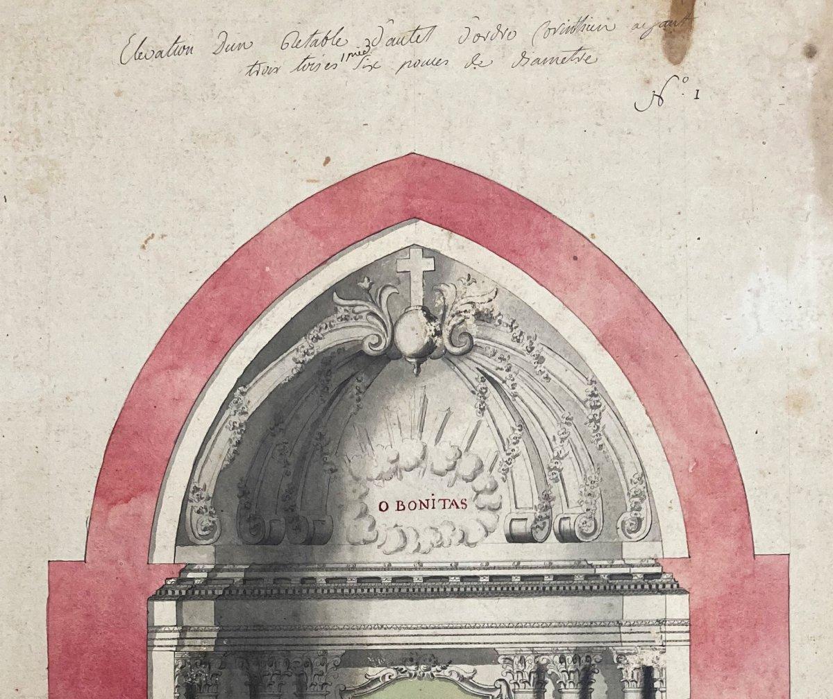 """ECOLE FRANÇAISE 18E """"Etude d'un autel"""" Dessin/Plume, lavis gris et aquarelle-photo-2"""