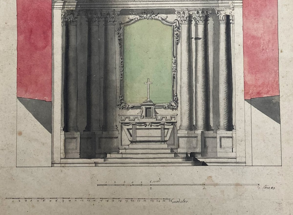 """ECOLE FRANÇAISE 18E """"Etude d'un autel"""" Dessin/Plume, lavis gris et aquarelle-photo-3"""