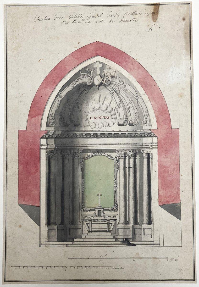 """ECOLE FRANÇAISE 18E """"Etude d'un autel"""" Dessin/Plume, lavis gris et aquarelle-photo-4"""