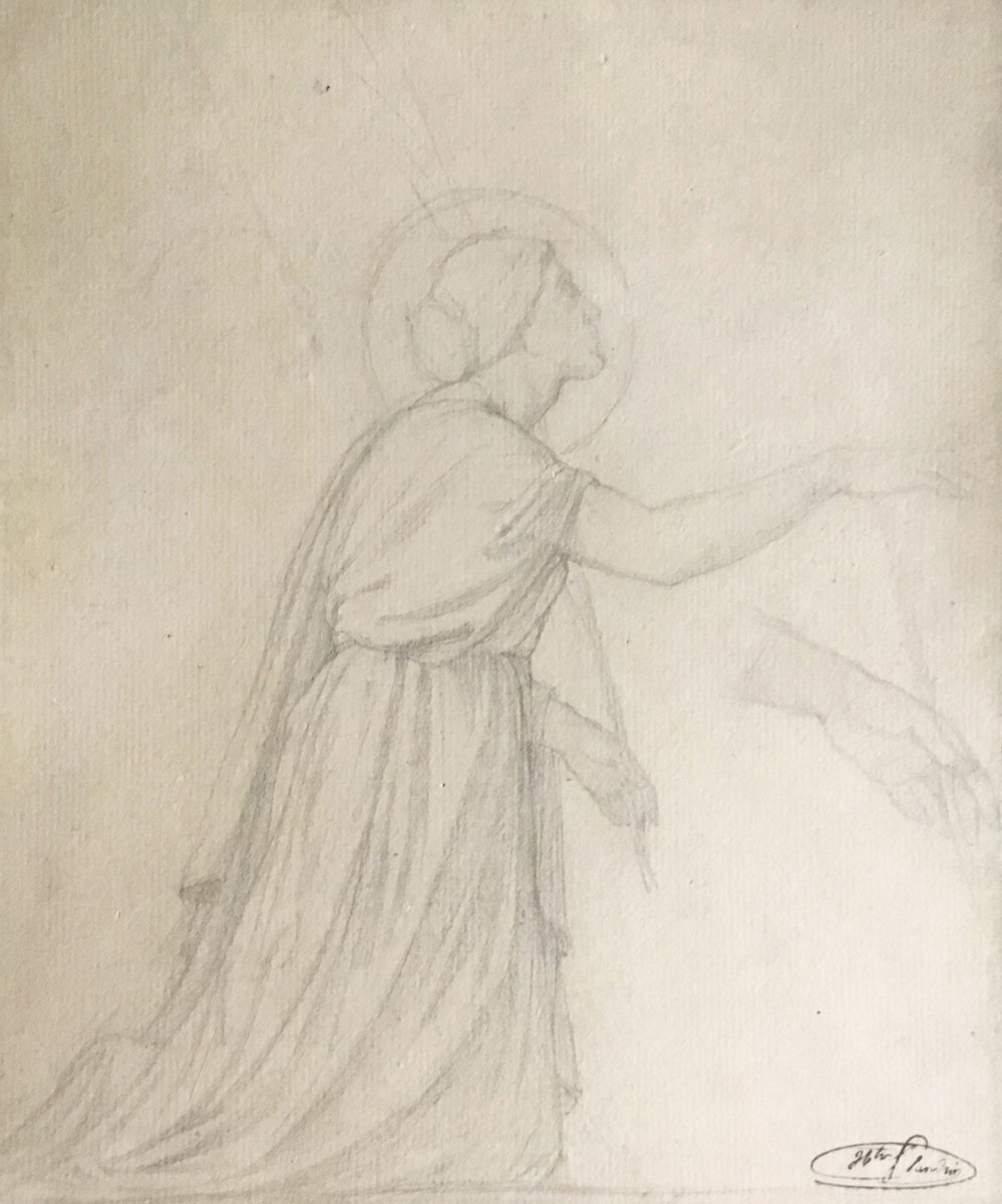 "FLANDRIN Hippolyte (1809-1864) ""Femme agenouillée"" Dessin/Crayon noir, signé/Cachet signature"