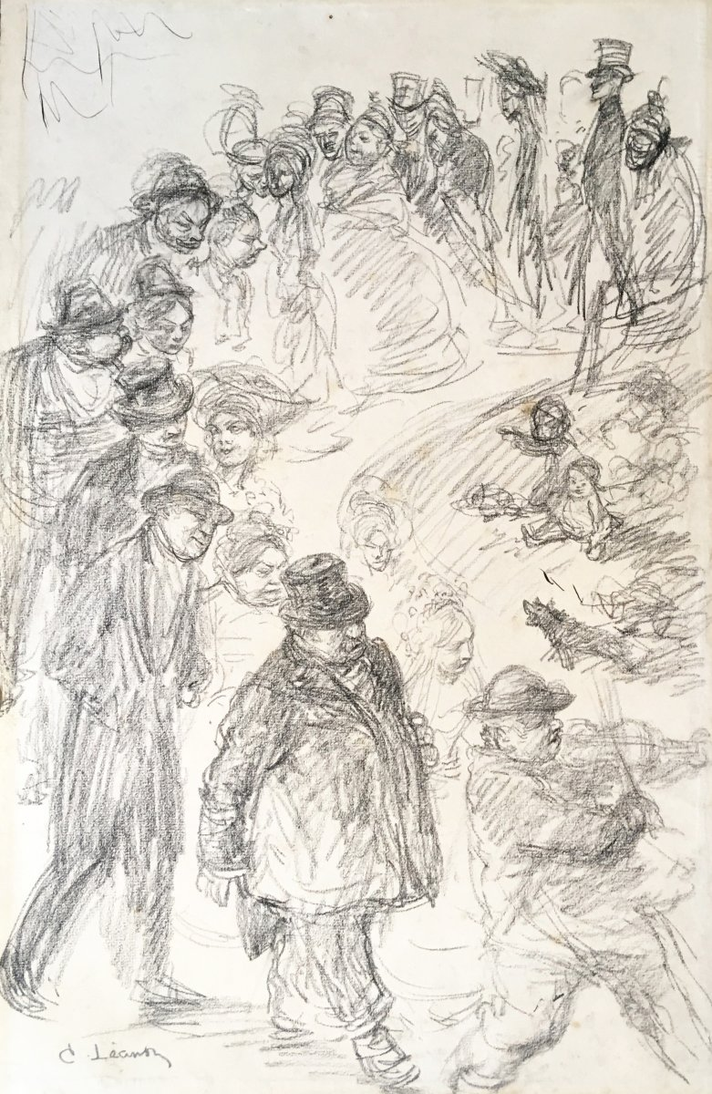 """LÉandre Charles (1862-1934) """"procession Of Characters"""" Drawing/black Pencil, Signed"""