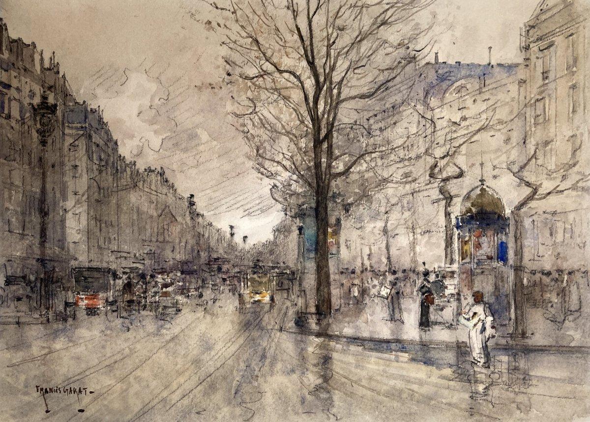 "Garat Francis (born In 1853) 19th ""boulevard Of Paris"" Drawing/watercolor, Black Pencil, Signed"