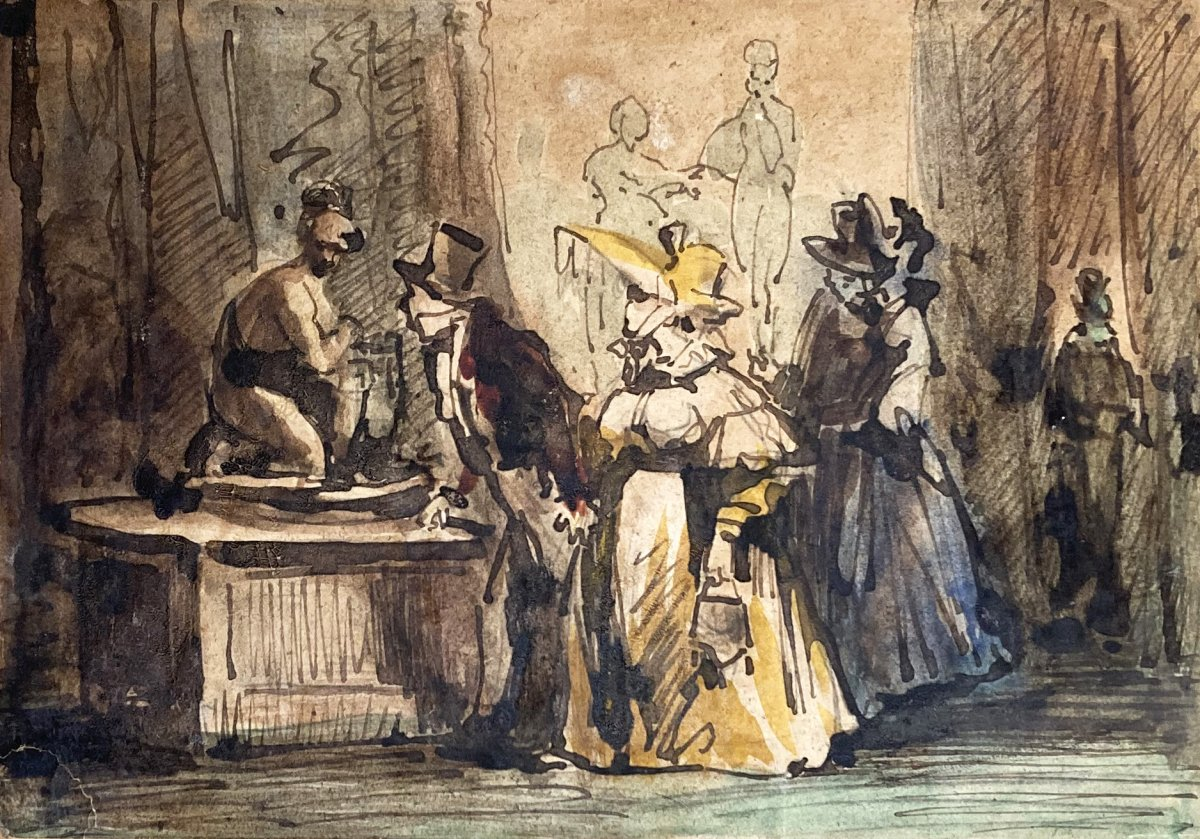 """Monnier Henry (1799-1877) """"at The Museum"""" Drawing/pen And Watercolor"""