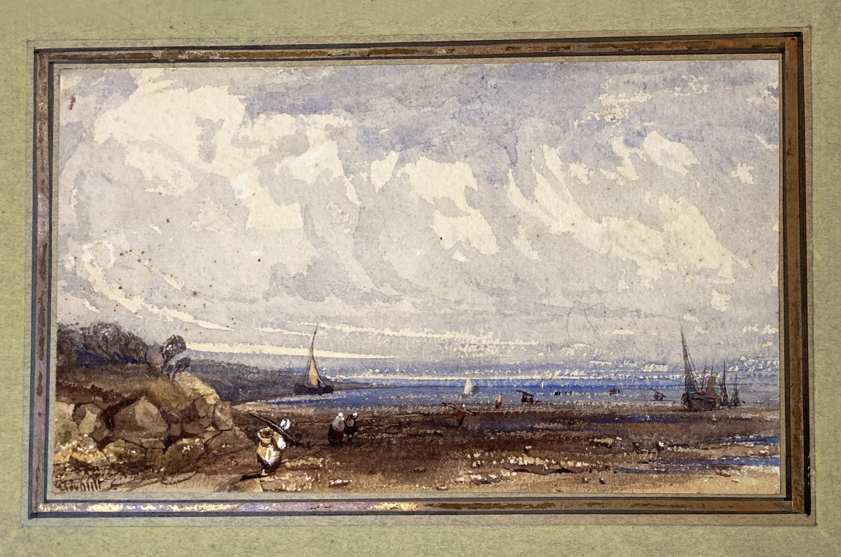 "Heroult Antoine Désiré (1802-1853) ""seascape"" Watercolor, Signed"