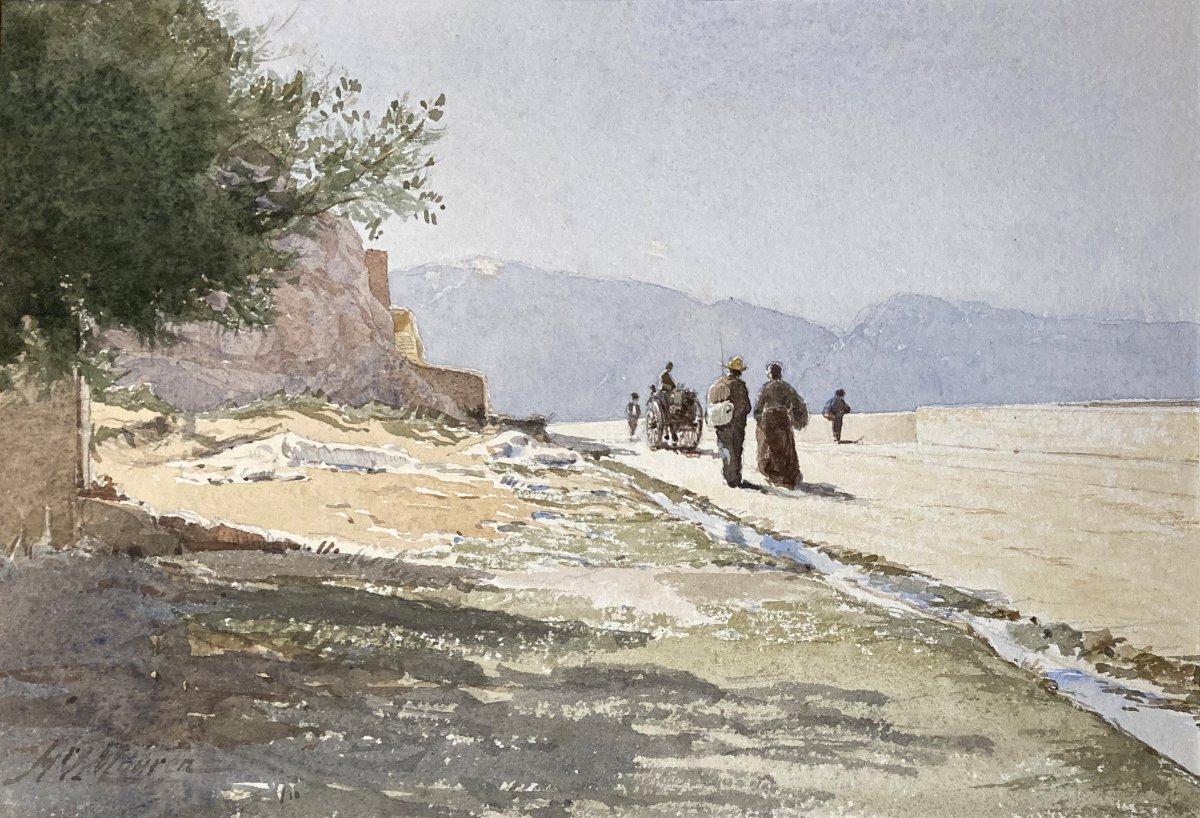 """MOUREN Henri (1844-1925) """"Paysage animé"""" Aquarelle, signé"""