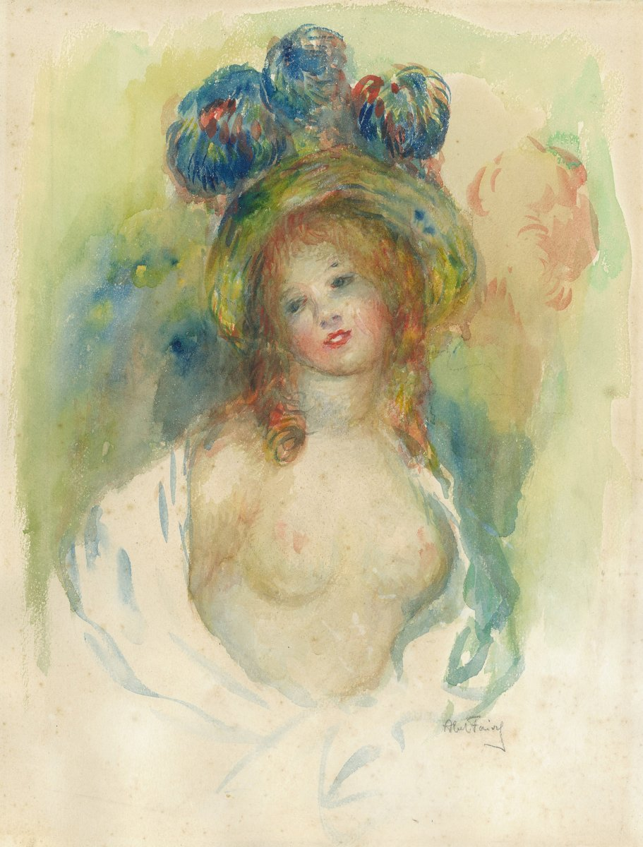 "Faivre Abel (1867-1945) ""the Bare Breasted Model"" Watercolor, Signed"