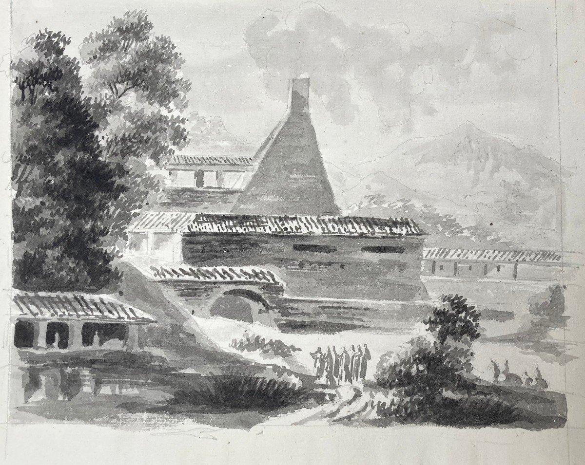 """EPINAT Fleury (1764-1830) """"Paysage d'Italie"""" Dessin au lavis gris"""